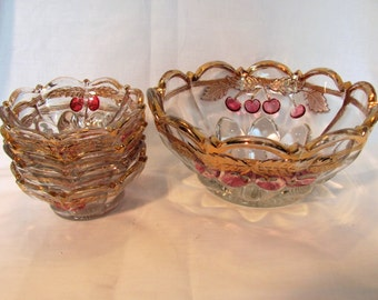 Cherry and Cable Berry Set From the Early 1900's / Pressed Glass Berry Set by Northwood
