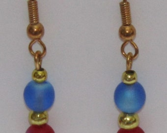 Dangle Light Blue and Ruby Red Resin Bead Earrings in Gold or Silver