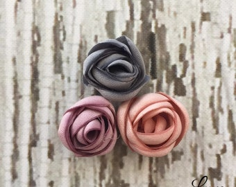 Petite Singed Rosettes - .75 inch flowers -  Blush, French Blue, Lavender - Petite DIY Craft Flowers