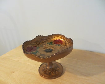 Goofus Glass Fluted Compote Dish with Rose Design