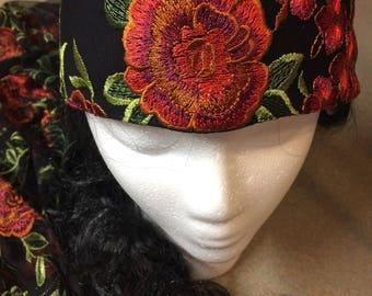 Headband Embroidered Roses