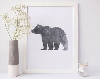 Bear Print, Printable Art, Woodsy Art Poster, Bear Nursery, Woodland Print, Black Bears, Wildlife Art Print Decor Black and White Wall Print