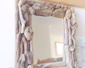 "Driftwood Mirror Natural Isle of Wight Beach Home Decor Nautical Wall Hanging 10""x14"""