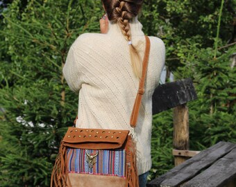 Native american bag, fringe bag, hippie boho bag, bohemian bag, purse with fringe, native american handbag, animal motive hobo bag, sale