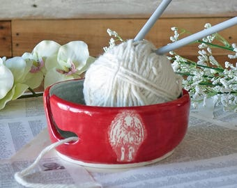 Red and Grey Knitting Bowl - SHEEP Yarn Bowl - Handmade Pottery - Wool Bowl - Knitting Gift -  Unique - In Stock