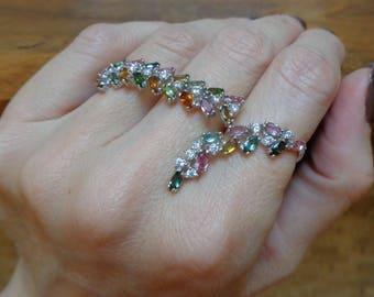 Triple ring in Sterling Silver with Mixed Colored Tourmaline, Size 5 1/2, 7, 7