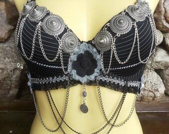 Gorgeous tribal bellydance bra, tribal fusion black/silver bra, size A