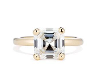 Asscher Moissanite Engagement Ring, 14K Gold 2.2 Carat Forever One Moissanite, Asscher Solitaire Engagement Ring