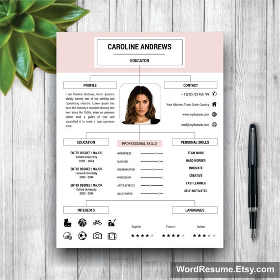cv template professional resume template cover letter and