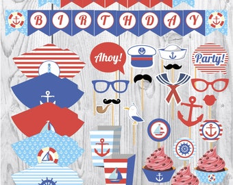 Nautical kids party printables, boys sailor party, party paper decoration, Birthday Party Package, printables, printing party decorations