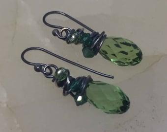 Swarovski Wrapped Drop Crystal Earrings (Green)