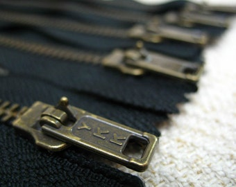14inch - Black Metal Zipper - Brass Teeth - 5pcs