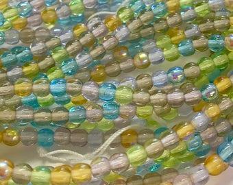 4mm Druk Bead Mix, 4mm Round Glass Bead Mix, Mixed Glass Strand, Czech Druk Bead Mix,  Pastel Green/Blues/Amber