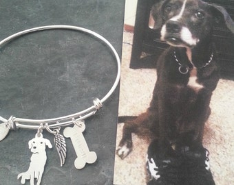 Custom Pet Portrait TaGette Adjustable Bangle Bracelet .. Sterling Silver Dog silhouette Jewelry Memorialize Keepsake