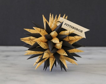 Pittsburgh Ornament - Map Black and Gold Polish Star | Jezyk Paper Star Folk Art Spiky Ornament, 4.5 inch