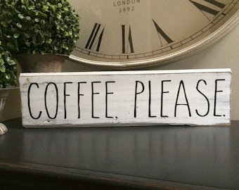 COFFEE, PLEASE.  Made from and 100 plus year old barn in Battle Creek, MI.  Rae Dunn inspired, great sign for the coffee lover!
