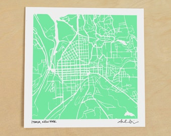 Ithaca Map, Hand-Drawn Map Print of Ithaca New York