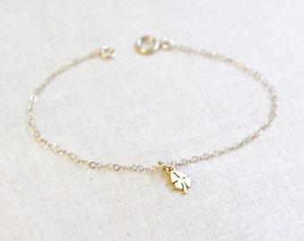 Four Leaf Clover Bracelet | Tiny Lucky Charm Bracelet in Gold or Silver