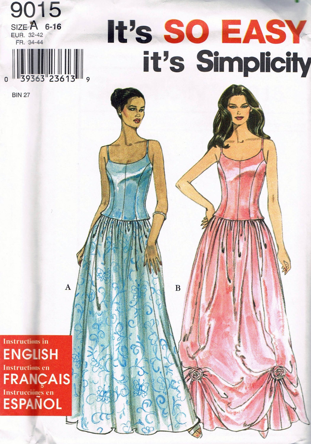 Size 6-16 Misses\' Formal Dress Sewing Pattern - Spaghetti Strap ...