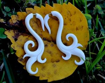 Fake Gauge Earrings, Anela Hand Carved, Natural White Bone, Split Gauge Earrings, Tribal, Organic