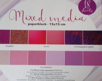 Pink block scrapbooking Mixed media glitter 15 x 15