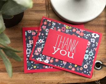 Bright Red Thank Yous - pack of 2