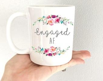 15 oz Couples, Engaged AF, Wedding Mug, Engaged, Engagement Mug, Bride, bridal mug, Wife, Wedding Gift, Wifey for Lifey Mug. Coffee