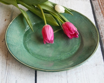 Two Rustic Green Dinner Plates Handmade Stoneware Ceramic Pottery Dishes Handcrafted Dinnerware Ready to Ship Made in USA