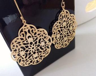 Large Gold Earrings, 14k Gold Filled Earwires, Filigree Gothic Pattern, Boho, Modern, Long hooks, thehappylittlebeader