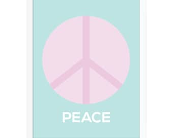 Peace Sign Art Poster, Peace Wall Art, Pink Nursery Art, Pastel Baby Art, Art Print for Kids, Girls Room Poster, Girls Nursery Art Print