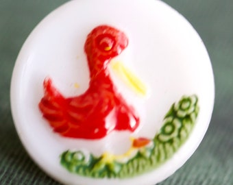 White Glass Kiddie Button with Duck