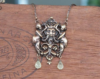 Two Cherubs and a Horned man Pendant with Prenhite Drops Pendant Necklace French Brass Stamping