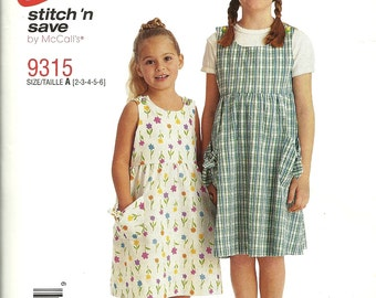 McCall's 9315       Childrens and Girls Jumper     Sizes 2-6 or 7-14    Uncut