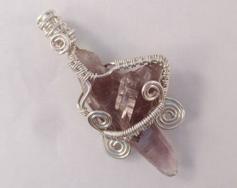 Guerrero Amethyst Point Wire Wrap Pendant - OOAK - Silver Plated Copper Core Wire - Spirituality, Warrior, Peace, Energy - Crystal Cave