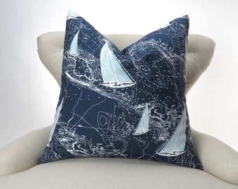 Nautical Pillow Cover -MANY SIZES- Navy Blue Sailing Ships Charts, Decorative Throw, Euro Sham, Sail Away Vintage Indigo by Premier Prints
