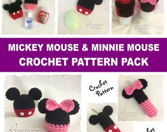 CROCHET PATTERN Bundle Mickey Mouse and Minnie Mouse Holders for EOS Lip Balm,  eos Lotion, Chapstick, Hand Sanitizers and Cup cozies!