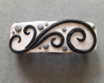 White & Black Swirl Polymer Clay Hair Barrette