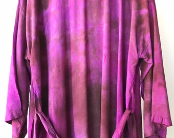 IN STOCK ready to ship, Hand Dyed Kimono Robe in Black Cherry , Purple and Magenta Tie Dyed Rayon Bathrobe, Anna Joyce, Portland, OR.
