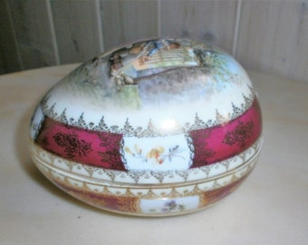 Storks decor vintage porcelain egg trinket box
