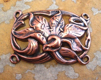Antique Copper Lily Bracelet - Trinity Brass Co