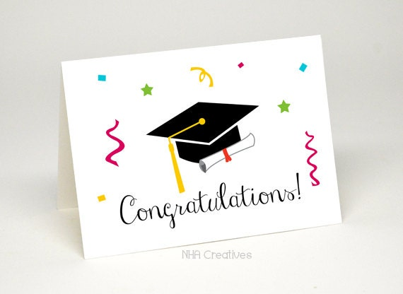 Congratulations Graduation Card Graduation Cap And Diploma