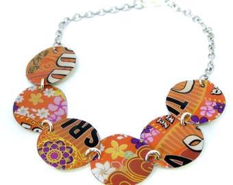 Colorful, pop recycled metal bracelet