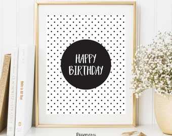 Happy Birthday Printable, birthday decor, happy birthday sign, Birthday party decorations, Birthday Printable Banner, 8x10 Instant Download