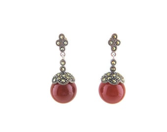 Natural 14MM Carnelian Ball set with Marcasite Cup Silver Victorian Dangling & Drop Earring
