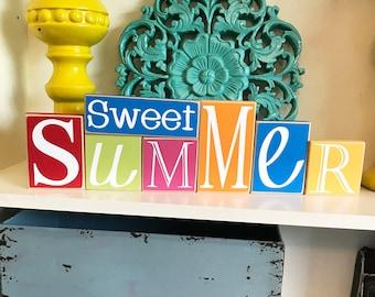 Sweet Summer Blocks- Summer Decor, Summer Decoration, Summer Blocks, Summer Sign, Wood Summer Sign, Wood Summer Decor, Wood Summer Blocks