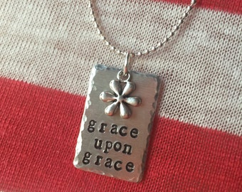 """grace upon grace, stamped necklace, john 1:16, scripture necklace, 24"""", Personalized metal stamped necklace, Love Squared designs"""