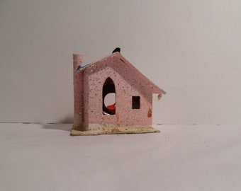 Putz House, Mica House, pink, snowy, Christmas Ornament, decoration, coconut, 1950s Christmas Ornament, Light Cover, Christmas, Germany