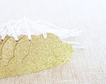 Cloud Gold Glitter Tags, Clouds Gift Tags, Gold Glitter Tags