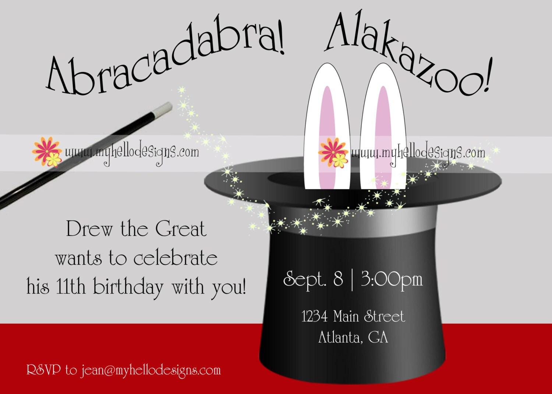 Birthday Invitations Magic with Hat Bunny