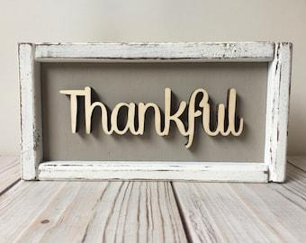 Gift - Thankful - Thankful Sign - Rustic Decor - Farmhouse Decor - Home Decor - Housewarming Gift - Rustic - Thankful Sign
